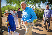 29 AUGUST 2012 - PARADISE VALLEY, AZ:   Dr. RICHARD CARMONA, Democratic candidate for US Senate from Arizona, (center) walks out of Barry Goldwater Memorial Park with JOANNE GOLDWATER, left, CC GOLDWATER, center left, and TYLER ROSS GOLDWATER, after a press conference in Barry Goldwater Memorial Park in Paradise Valley, AZ, Wednesday. Carmona won the endorsements of Joanne Goldwater, daughter of Barry Goldwater, the late legendary Republican Senator from Arizona. He was also endorsed by CC Goldwater, her daughter, and Tyler Ross Goldwater, CC Goldwater's son. Barry Goldwater was from Paradise Valley.   PHOTO BY JACK KURTZ