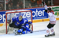 Goalkeeper of Finland Niklas Backstrom, Ville Koistinen of Finland and Jamal Mayers of Canada at ice-hockey game Canada vs Finland at Qualifying round Group F of IIHF WC 2008 in Halifax, on May 12, 2008 in Metro Center, Halifax, Nova Scotia, Canada. Canada won. (Photo by Vid Ponikvar / Sportal Images)