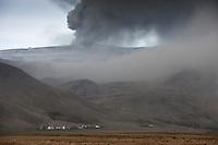Ash from Volcano Eyjafjallajökull in Eyjafjöll agricultural region, Iceland..Öskufall undir Eyjafjöllum frá gosinu í Eyjafjallajökli.