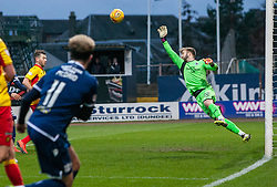 Partick Thistle's keeper Scott Fox saves from Dundee's Declan McDaid. Dundee 2 v 0 Partick Thistle, Scottish Championship game played 8/2/2020 at Dundee stadium Dens Park.