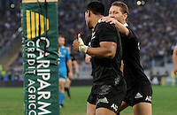 Rome, Italy -In the photo  Julian Savea celebrates the goal during .Olympic stadium in Rome Rugby test match Cariparma.Italy vs New Zealand (All Blacks). (Credit Image: © Gilberto Carbonari).