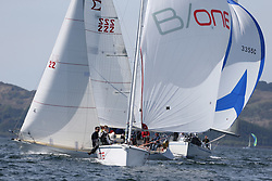 The Clyde Cruising Club's Scottish Series held on Loch Fyne by Tarbert. Day 2 racing in a perfect southerly.GBR 3111, DDZ B/one,  Luke Patience, RNCYC.GBR4270 ,Sigmatic ,Donald & Anita Mclaren ,CCC/Helensburgh SC