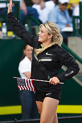 Olympic Trials Eugene 2012: women's Javelin, Brittany Borman victory lap, winner, Olympian