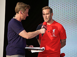LIVERPOOL, ENGLAND - Monday, May 9, 2016: Liverpool's Jason McAteer is interviewed by Steve Hothersall at the launch of the New Balance 2016/17 Liverpool FC kit at a live event in front of supporters at the Royal Liver Building on Liverpool's historic World Heritage waterfront. (Pic by Lexie Lin/Propaganda)