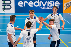 Rick van der Sluis #2 of Sliedrecht Sport, Marius den Hartog #3 of Sliedrecht Sport, Bart Yark #11 of Sliedrecht Sport celebrate in the second round between Sliedrecht Sport and Draisma Dynamo on February 29, 2020 in sports hall de Basis, Sliedrecht