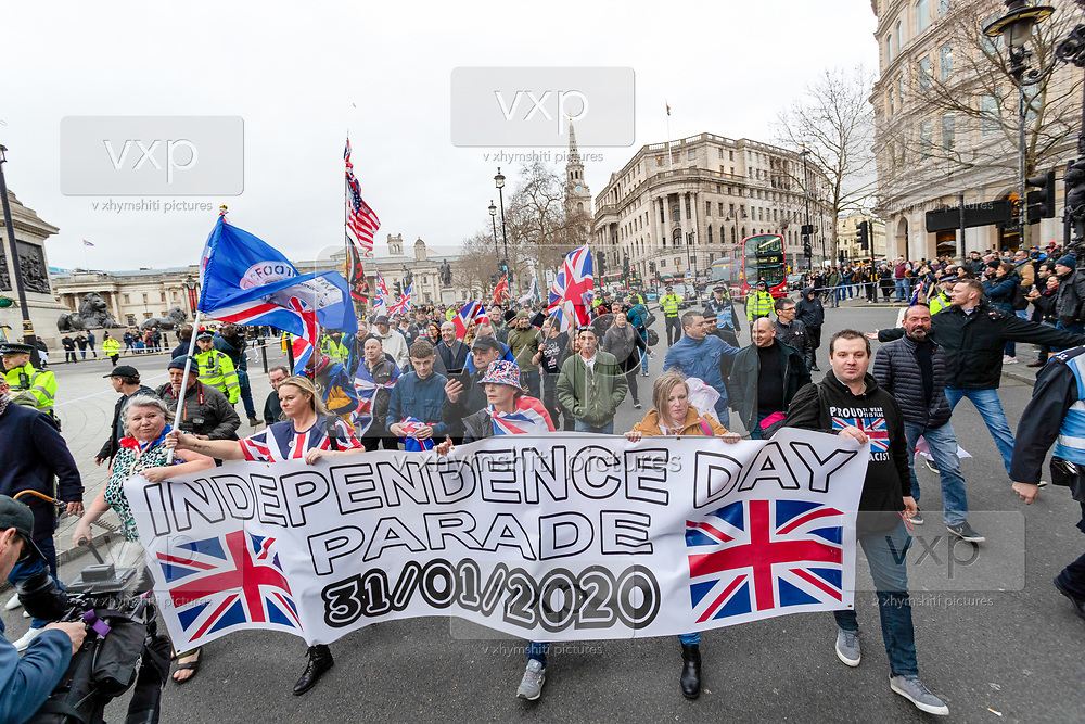 Dozens of Brexit supporters march through Trafalgar Square to celebrate Britain's departure from the EU in London, Friday, Jan. 31, 2020. (Photo/Vudi Xhymshiti)