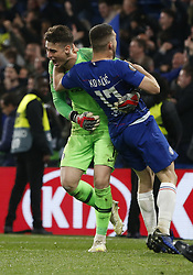 BRITAIN-LONDON-FOOTBALL-UEFA EUROPA LEAGUE-CHELSEA VS FRANKFURT.(190510) -- LONDON, May 10, 2019  Chelsea's Kepa Arrizabalaga (L) celebrates with teammate Chelsea's Mateo Kovacic after winning the penalty shoot of the UEFA Europa League semi-final second leg match between Chelsea and Frankfurt in London, Britain on May 9, 2019.  FOR EDITORIAL USE ONLY. NOT FOR SALE FOR MARKETING OR ADVERTISING CAMPAIGNS. NO USE WITH UNAUTHORIZED AUDIO, VIDEO, DATA, FIXTURE LISTS, CLUBLEAGUE LOGOS OR ''LIVE'' SERVICES. ONLINE IN-MATCH USE LIMITED TO 45 IMAGES, NO VIDEO EMULATION. NO USE IN BETTING, GAMES OR SINGLE CLUBLEAGUEPLAYER PUBLICATIONS. (Credit Image: © Xinhua via ZUMA Wire)