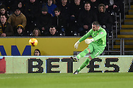 Hull City goalkeeper Allan McGregor (1) takes goal kick during the Sky Bet Championship match between Hull City and Cardiff City at the KC Stadium, Kingston upon Hull, England on 13 January 2016. Photo by Ian Lyall.