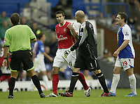 Photo: Aidan Ellis.<br /> Blackburn Rovers v Arsenal. The FA Barclays Premiership. 19/08/2007.<br /> Arsenal's Robin Van Persie is acussed of diving by Brad Friedel and David dunn