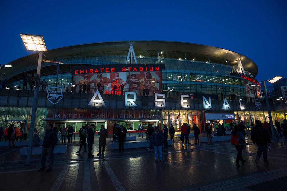 A general view of The Emirates Stadium, home of Arsenal<br /> <br /> Photographer Craig Mercer/CameraSport<br /> <br /> Football - UEFA Champions League Round of 16 - Arsenal v Barcelona - Tuesday 23rd February 2016 - Emirates Stadium - London<br /> <br /> © CameraSport - 43 Linden Ave. Countesthorpe. Leicester. England. LE8 5PG - Tel: +44 (0) 116 277 4147 - admin@camerasport.com - www.camerasport.com