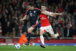 20.10.2015, Emirates Stadium, London, ENG, UEFA CL, FC Arsenal vs FC Bayern Muenchen, Gruppe F, im Bild l-r: Robert Lewandowski #9 (FC Bayern Muenchen) und Laurent Koscielny #6 (FC Arsenal London) // during UEFA Champions League group F match between Arsenal FC and FC Bayern Munich at the Emirates Stadium in London, Great Britain on 2015/10/20. EXPA Pictures © 2015, PhotoCredit: EXPA/ Eibner-Pressefoto/ Kolbert<br /> <br /> *****ATTENTION - OUT of GER*****