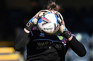 Norwich City goalkeeper Tim Krul (1)  face obscured by the ball during the EFL Sky Bet Championship match between Wycombe Wanderers and Norwich City at Adams Park, High Wycombe, England on 28 February 2021.