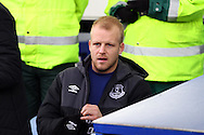 Steven Naismith of Everton takes his seat on the bench. Barclays Premier League match, Everton v Aston Villa at Goodison Park in Liverpool on Saturday 21st November 2015.<br /> pic by Chris Stading, Andrew Orchard sports photography.