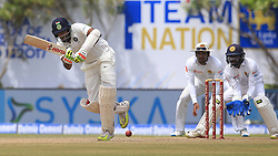July 27, 2017 - Galle, Sri Lanka - Indian cricketer Ravichandran Ashwin(L) plays a shot during the 2nd Day's play in the 1st Test match between Sri Lanka and India at the Galle International cricket stadium, Galle, Sri Lanka on Thursday 27 July 2017  (Credit Image: © Tharaka Basnayaka/NurPhoto via ZUMA Press)