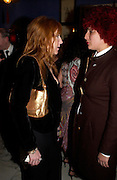 Charlotte Tilbury and Selina Blow. Zac Posen Spring/ Summer collection launch party. The Blue Bar, Berkeley Hotel. London. 7 March 2004. Dafydd Jones,  ONE TIME USE ONLY - DO NOT ARCHIVE  © Copyright Photograph by Dafydd Jones 66 Stockwell Park Rd. London SW9 0DA Tel 020 7733 0108 www.dafjones.com