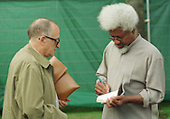 Exiled Nigerian Nobel prize-winning author Wole Soyinka in conversation with Spanish writer Juan Goytisolo at the Edinburgh International Book Festival where they were appearing together for a talk entitled 'the Role of the Writer'....