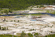 Biscuit Basin in the Upper Geyser Basin as viewed from Observation Point along the Mystic Falls Trail, Yellowstone National  Park, Wyoming.