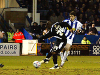 Photo: Chris Ratcliffe.<br /> Colchester United v Swansea City. LDV Vans Trophy. 14/03/2006.<br /> Leon Knight of Swansea scores Swansea's second goal