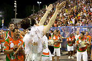 Christiane Torloni who is leading Grande Rio Escola de Samba, posing for photos before their final practice, Grande Rio Samba School from the Special Group, practices their Carnival procession in the Sambadrome, Rio de Janeiro, Brazil