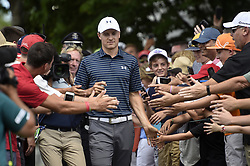 June 25, 2017 - Cromwell, CT, USA - Jordan Spieth is greeted by fans on the first tee during the final round of the 2017 Travelers Championship at TPC River Highlands Sunday, June 25, 2017 in Cromwell, Conn. Spieth is the first wire to wire winner since Tim Norris won in 1982 at Wethersfield Country Club. (Credit Image: © John Woike/TNS via ZUMA Wire)