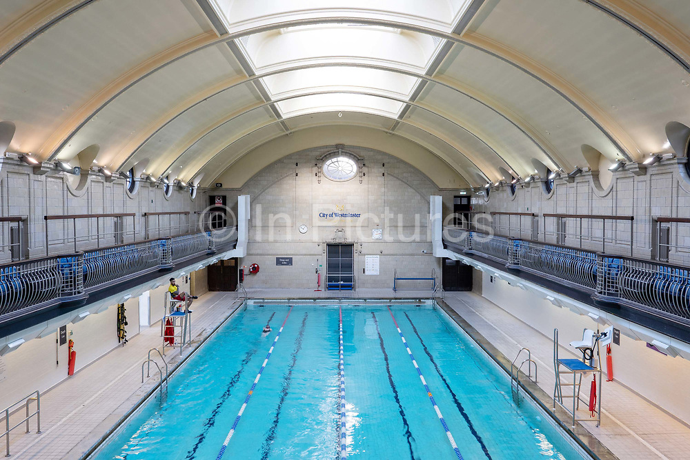 Porchester Spa swimming pool on the 29th November 2019 in London In the United Kingdom. The Porchester Spa in west London is the capitals oldest Spa.