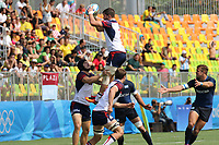 August 09, 2016; Rio de Janeiro, Brazil; USA Men's Eagles Sevens Danny Barrett catches a lineout against Argentina during the Men's Rugby Sevens Pool A match on Day 4 of the Rio 2016 Olympic Games at Deodoro Stadium. Photo credit: Abel Barrientes - KLC fotos