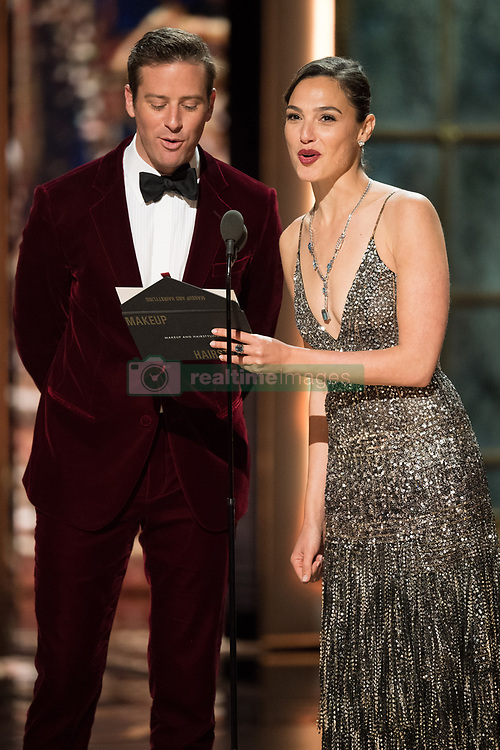 March 4, 2018 - Hollywood, California, U.S. - Armie Hammer and Gal Gadot on stage at The 90th Oscars at the Dolby Theatre in Hollywood. (Credit Image: ? Aaron Poole/AMPAS via ZUMA Wire/ZUMAPRESS.com)