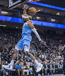 March 19, 2018 - Sacramento, CA, USA - Sacramento Kings guard Vince Carter (15) follows through on a dunk after a fast break play against the Detroit Pistons during their game at the Golden 1 Center Monday, March 19, 2018 in Sacramento, Calif. The Pistons won, 106-90. (Credit Image: © Hector Amezcua/TNS via ZUMA Wire)