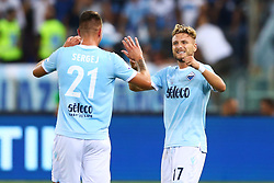 August 13, 2017 - Rome, Italy - Ciro Immobile of Lazio and Sergej Milinkovic-Savic of Lazio celebrating after the penalty of 0-1 scored  during the Italian Supercup match between Juventus and SS Lazio at Stadio Olimpico on August 13, 2017 in Rome, Italy. (Credit Image: © Matteo Ciambelli/NurPhoto via ZUMA Press)
