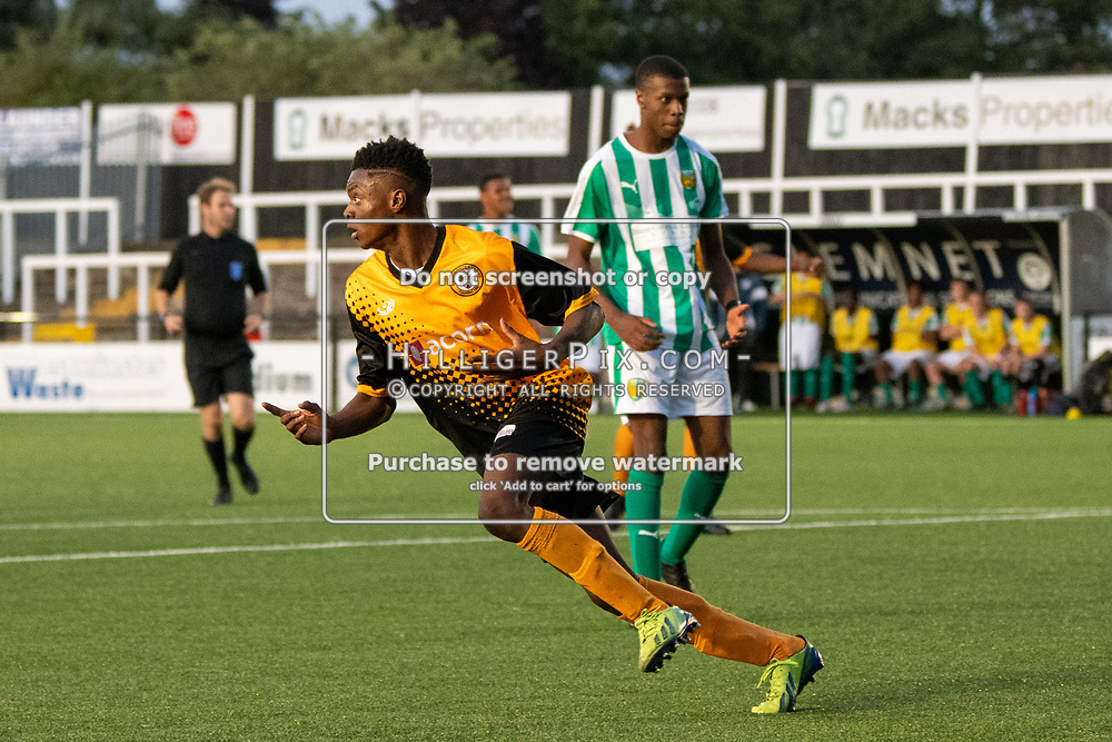 BROMLEY, UK - SEPTEMBER 04: Akoiawole Salami, of Cray Wanderers FC, celebrates scoring the equaliser just before half time during the FA Youth Cup Preliminary Round match between Cray Wanderers FC and VCD Athletic at Hayes Lane on September 4, 2019 in Bromley, UK. <br /> (Photo: Jon Hilliger)