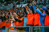 Holland fans celebrates at full time during the UEFA Nations League semi-final match between Netherlands and England at Estadio D. Afonso Henriques, Guimaraes, Portugal on 6 June 2019.