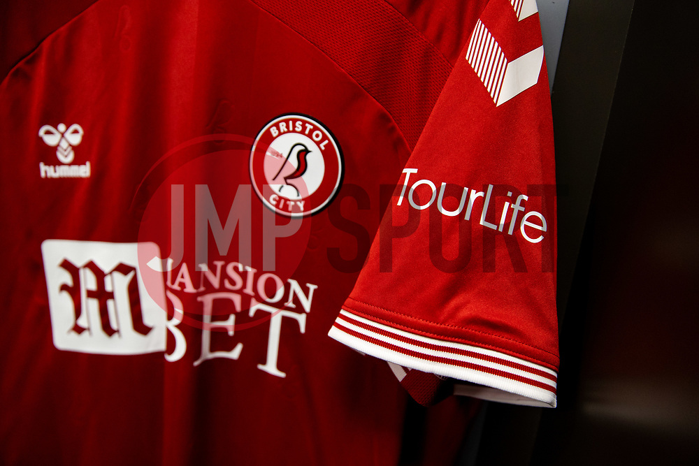 TourLife sponsor the Bristol City shirt for this match - Rogan/JMP - 24/09/2020 - Ashton Gate Stadium - Bristol, England - Bristol City v Aston Villa - Carabao Cup Third Round.