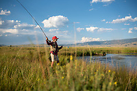 Joe Boylan casts for cutthroat trout while fishing Flat Creek on Monday evening on the National Elk Refuge.