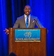 Chauncy Glover comments during the Scholars Banquet at the Westin Galleria, April 11, 2017.