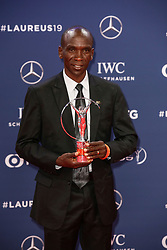 Eliud Kipchoge, winner of the Laureus Academy Exceptional Award 2019 poses with his award during the Laureus Sports Awards 2019 ceremony at the Sporting Monte-Carlo in Monaco on February 18, 2019. Photo by Marco Piovanotto/ABACAPRESS.COM