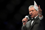 LAS VEGAS, NV - JULY 8:  Bruce Buffer announces Claudia Gadelha during The Ultimate Fighter Finale at MGM Grand Garden Arena on July 8, 2016 in Las Vegas, Nevada. (Photo by Cooper Neill/Zuffa LLC/Zuffa LLC via Getty Images) *** Local Caption *** Bruce Buffer