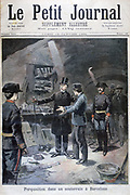 Anarchist outrages in Spain:  Police searching a cellar in Barcelana finding a  laboratory for producing explosives.  From 'Le Petit Journal', Paris, 15 January 1894. Terrorism