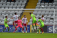 Stevenage Midfielder, Jonathan Smith (2) heads wide during the EFL Sky Bet League 2 match between Stevenage and Forest Green Rovers at the Lamex Stadium, Stevenage, England on 21 October 2017. Photo by Adam Rivers.
