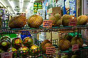 Durian fruit in a fruit shop in central Tokyo, Japan