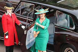 Sarah, Duchess of York arrives for the wedding of Princess Eugenie to Jack Brooksbank at St George's Chapel in Windsor Castle.