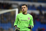 David Marshall, the Cardiff city goalkeeper looks on. Skybet football league championship match, Cardiff city v Rotherham Utd at the Cardiff city stadium in Cardiff, South Wales on Saturday 6th December 2014<br /> pic by Andrew Orchard, Andrew Orchard sports photography.