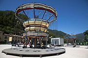 Stationary fairground carousel in Scheggino, Umbria, Italy.