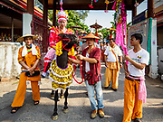 "05 APRIL 2018 - CHIANG MAI, THAILAND:  on the second day of the three day long Poy Sang Long ceremony at Wat Pa Pao in Chiang Mai. Poy Sang Long (""The Festival of the Crystal Sons"") is a ceremony that marks a rite of passage among the Buddhist Shan people in Myanmar and northern Thailand. Boys between seven and fourteen years of age are ordained as Buddhist novices during a three day ceremony.    PHOTO BY JACK KURTZ"