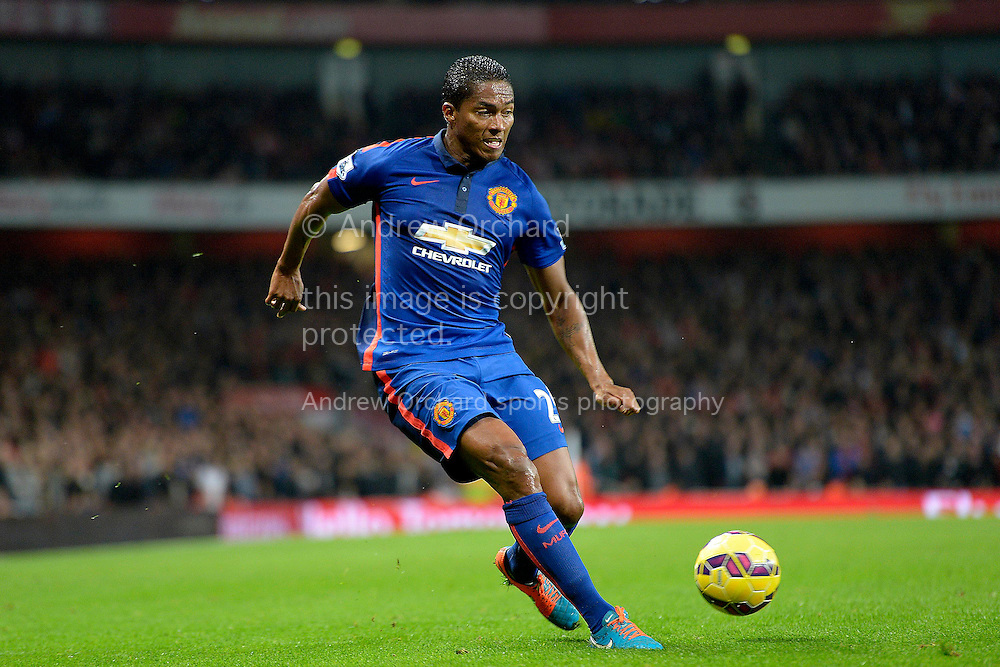 Antonio Valencia of Manchester United in action. Barclays Premier league match, Arsenal v Manchester Utd at the Emirates Stadium in London on Saturday 22nd November 2014.<br /> pic by John Patrick Fletcher, Andrew Orchard sports photography.