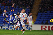 Cardiff City's Anthony Pilkington (13) attempts a bicycle kick that is saved by M K Dons 'keeper David Martin (not in shot).  Skybet football league championship match, Cardiff city v MK Dons at the Cardiff city stadium in Cardiff, South Wales on Saturday 6th February 2016.<br /> pic by Carl Robertson, Andrew Orchard sports photography.