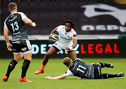 William Small-Smith of Cheetahs evades the tackle of Tom Williams of Ospreys<br /> <br /> Photographer Simon King/Replay Images<br /> <br /> Guinness PRO14 Round 2 - Ospreys v Cheetahs - Saturday 8th September 2018 - Liberty Stadium - Swansea<br /> <br /> World Copyright © Replay Images . All rights reserved. info@replayimages.co.uk - http://replayimages.co.uk