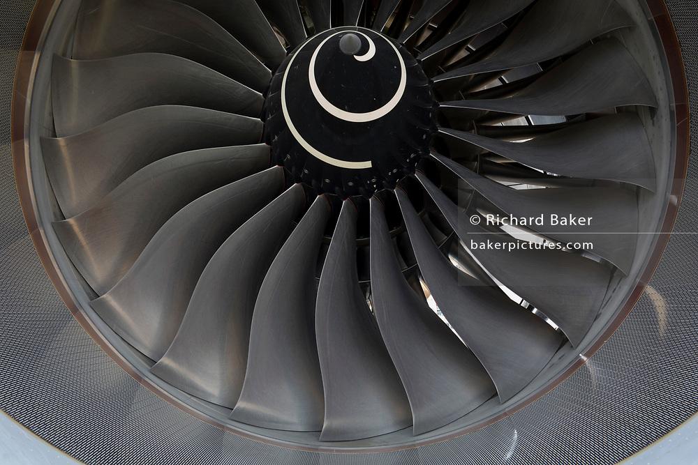 Detail of fan blades of a Qatar Airways Airbus A350-1000 at the Farnborough Airshow, on 18th July 2018, in Farnborough, England.
