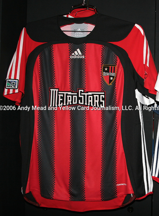 Adidas unveiled the 2006 MetroStars home jersey. The 2006 National Soccer Coaches Association of America convention was held at the Pennsylvania Convention Center in Philadelphia, PA from January 18-22, 2006. This jersey was never issued, as the team was rebranded New York Red Bulls shortly after this event.