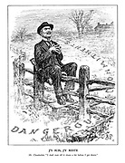 """J'y Suis, J'y reste. Mr. Chamberlain. I shall wait till it clears up a bit before I get down."""" (Neville Chamberlain sits on a fence with 'I am there, I stay there' as Dangerous Commitments are alll around him)"""