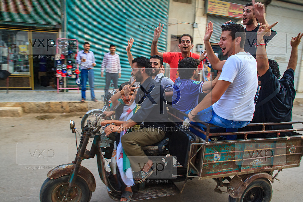 General picture shows the livelyhood atmosphere of the people in Marea on Sunday, June 24, 2012.  It is the largest town and administrative centre of the Mare' nahiyah in the Azaz District. Located some 25 kilometers north of the city of Aleppo, the town has a population of 16,904 as per the 2004 census. (Photo by Vudi Xhymshiti)